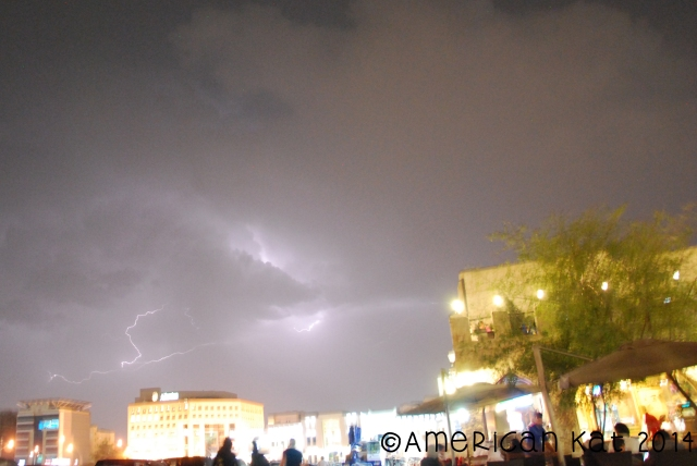 Lightning!  We caught a nice little storm one night while we were at Souq Waqif.
